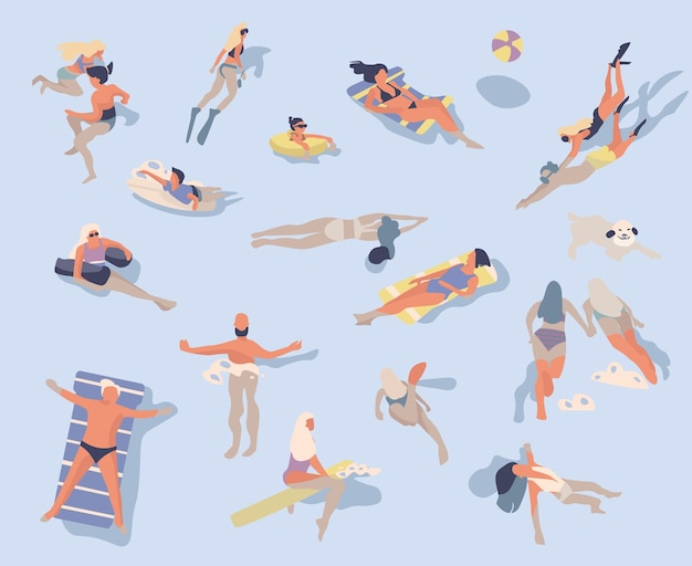 Swimming people illustration