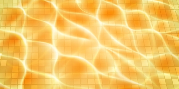 모자이크 타일, 햇빛 눈부심 및 부식성 잔물결이 있는 수영장 배경. 물 표면의 상위 뷰입니다. 옐로우 컬러로