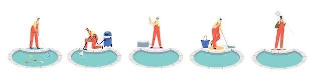 スイミングプールの清掃サービスの労働者は、屋外プールのメンテナンスと修理に取り組んでいます。ネット、掃除機、モップ、スキマーを備えたクリーンチームのセット。漫画フラットベクトルイラスト