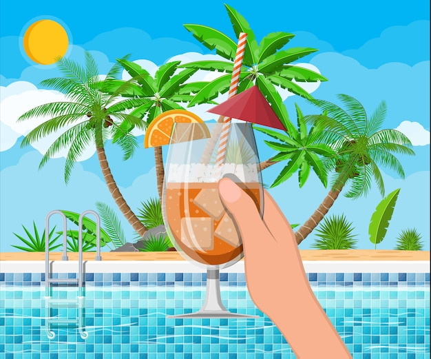 Swimming pool and cocktail, palm tree