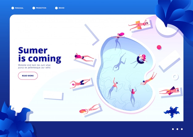 Swimming pool concept. people lounging and swim on summer vacation restore hotel relaxing at sea beach  landing page