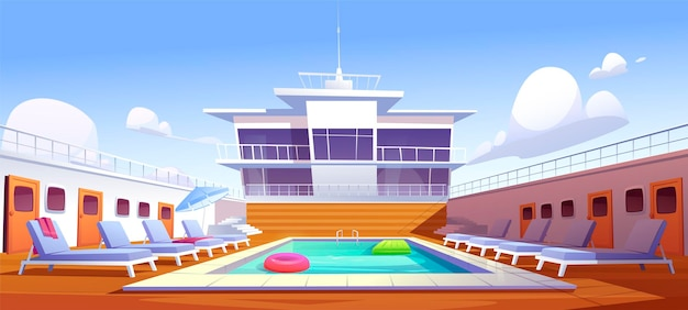 Swimming pool on cruise liner, empty ship deck with sun loungers, wooden floor and door portholes.