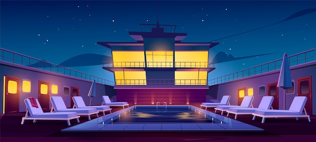 Swimming pool on cruise liner at night, empty ship deck with sun loungers, umbrellas and illumination. luxury sailboat in sea or ocean. passenger vessel under starry sky, cartoon vector illustration