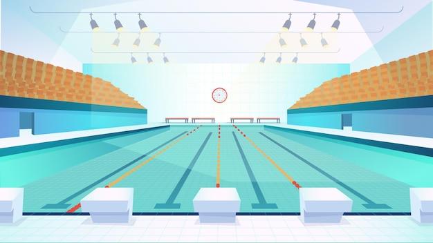 Swimming pool flat cartoon style illustration of web background