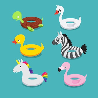 Swimming pool floats, inflatable animals flamingo, duck, unicorn, zebra, turtle, swan