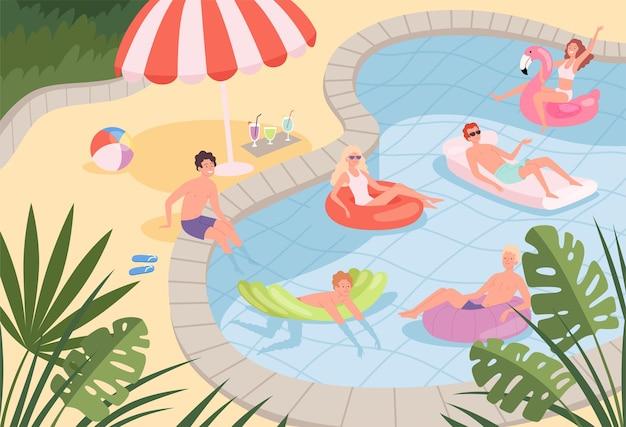 수영장. 행복한 캐릭터 가족 커플은 고무 매트리스에서 놀고있는 해변이나 수영장 야외 휴가 아이에서 휴식을 취합니다.