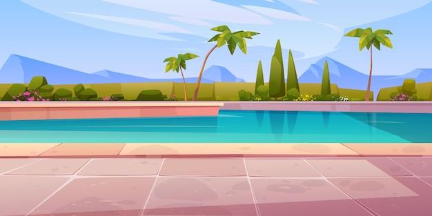ホテルやリゾートの屋外プール、夏