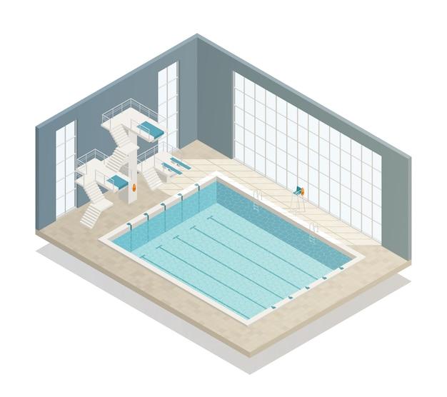 Swimming pool indoor isometric