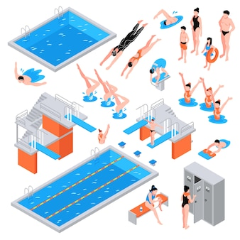 Swimming pool isometric elements