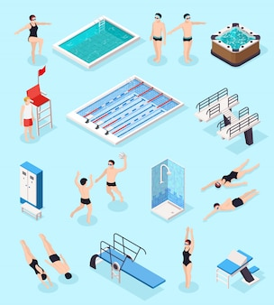 Swimming pool isometric set with equipment, isolated vector illustration