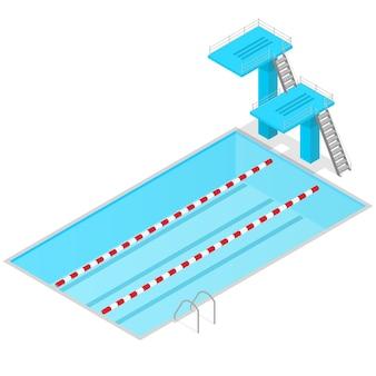 屋内のスイミングプールの等角図。競争のためのスポーツスプリングボード