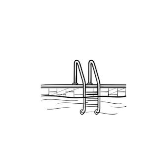 Лестница бассейна рисованной наброски каракули значок. спорт, отдых, отдых, недвижимость, концепция плавания. векторная иллюстрация эскиз для печати, интернета, мобильных устройств и инфографики на белом фоне.