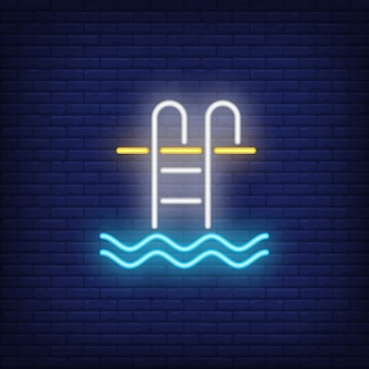 Swimming pool ladder neon sign