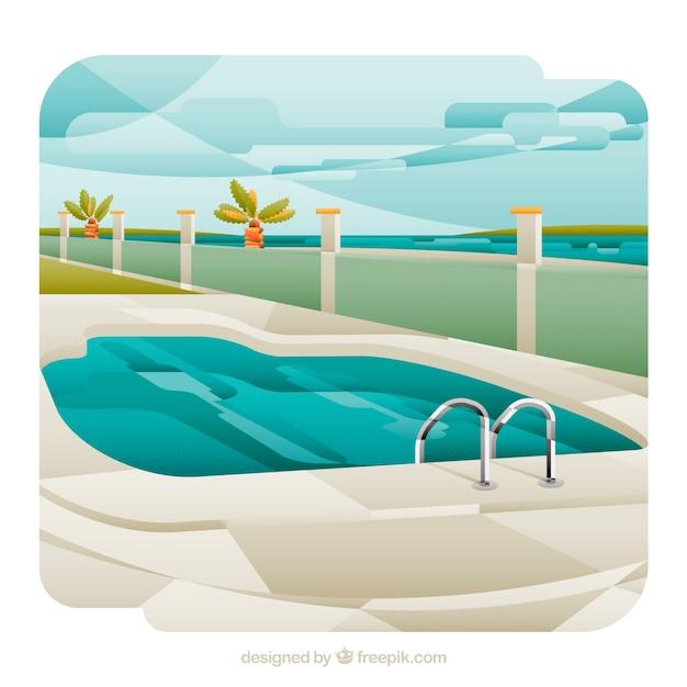 ビーチ近くのプールの風景を水泳