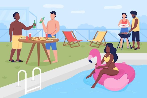 수영장 파티 플랫. 뒤뜰에서 여름 파티. 친구와 가족 모임 야외. 여름 모임. 수영장이있는 십대 2d 만화 얼굴없는 캐릭터 휴식