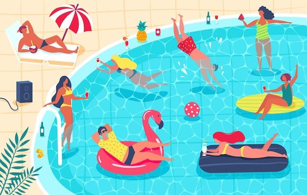 Вечеринка у бассейна мужчины и женщины в купальниках загорают, пьют коктейли, расслабляются. летняя вечеринка.
