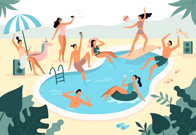 Swimming pool party. summer outdoors people in swimwear swim together and rubber ring floating in pool water illustration