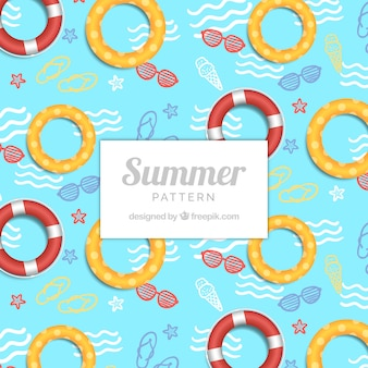 Swimming pool pattern with floats
