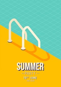 Swimming pool stairs summer party poster