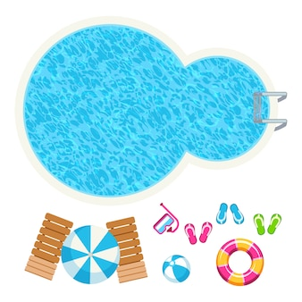 Swimming pool and summer accessories top view vector elements illustration