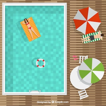 Swimming pool in a top view background