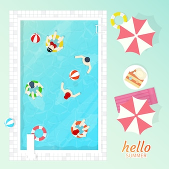 Swimming pool top view vector