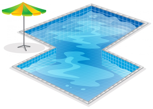 A swimming pool with a beach umbrella