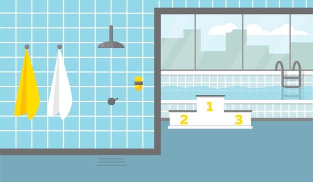 큰 창문과 샤워 실이있는 수영장