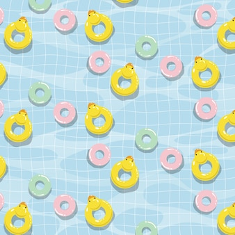 Swimming pool with colorful floats vector seamless pattern