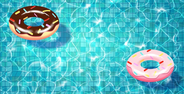 Swimming pool with floating realistic swimming ring,blue water, ripples and highlights.