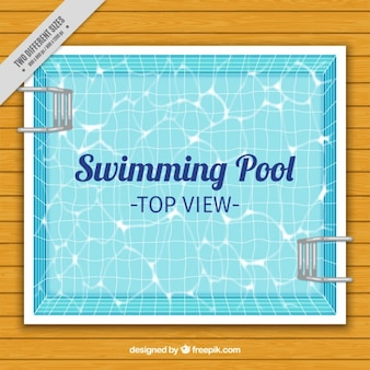 Swimming pool on a wooden floor background