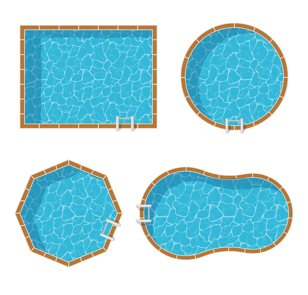 Swimming pools top view set isolated. blue water leisure relaxation