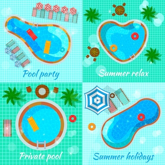 Swimming pools with accessories for various destination top view flat  concept isolated