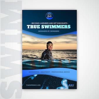 Шаблон плавательного плаката с фото