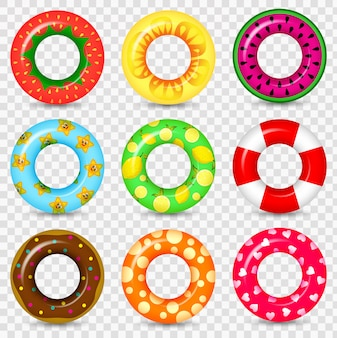 Swimming ring colorful rubber toy realistic icons. summer, water and beach theme, lifebuoy flat set.  swim ring colorful rubber toy realistic icons.