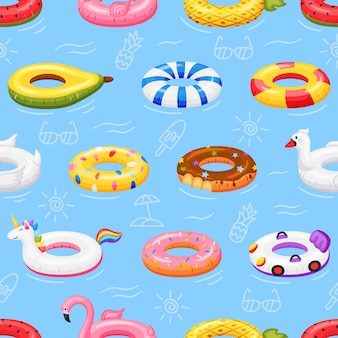 Swimming ring seamless pattern inflatable pool toys floating on water flamingo unicorn donut texture