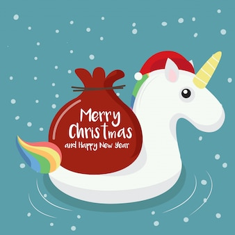 Swimming ring unicorn with christmas background.