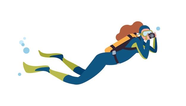 수영 스쿠버 다이버 평면 벡터 일러스트 레이 션. 카메라 만화 캐릭터와 여성 잠수부입니다. 사진을 찍고 바다 심연을 촬영하는 여자. 수중 사진 작가 흰색 배경에 고립입니다.