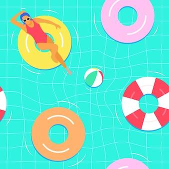 Swimming seamless pattern