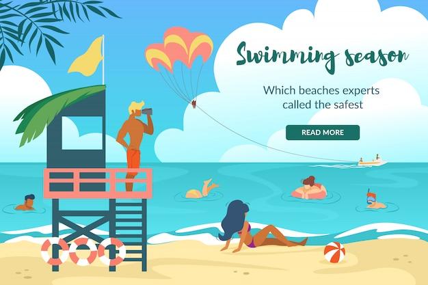 Swimming season horizontal banner with young lifesaver stand on sea