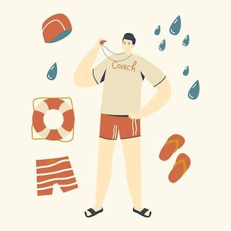 プールで水泳選手のキャラクターを教える水泳スポーツクラスのコーチ