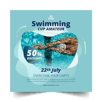 Swimming square flyer template design