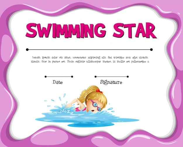 여자 수영 수영 스타 인증서 템플릿