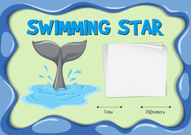 돌고래 꼬리 수영 스타 인증서