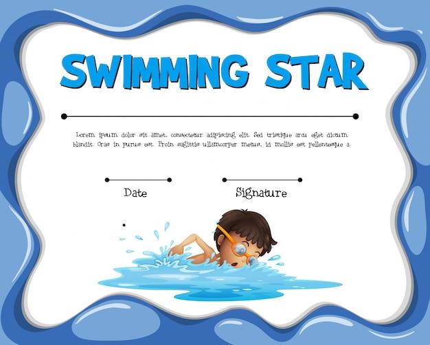 수영 선수와 함께 수영 스타 인증 템플릿