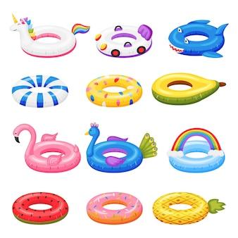 다양한 모양의 유니콘 플라밍고 수박 벡터 세트에 수영 장난감 만화 고무 풍선 반지
