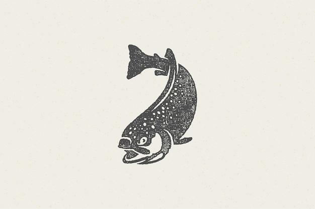 낚시 클럽 또는 해산물 시장 손으로 그린 스탬프 효과에 대한 수영 송어 물고기 실루엣