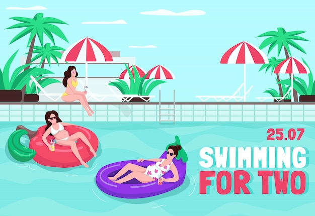 Swimming for two poster flat template. rest together at poolside. book hotel for family. brochure, booklet one page concept design with cartoon characters. summer recreation flyer, leaflet
