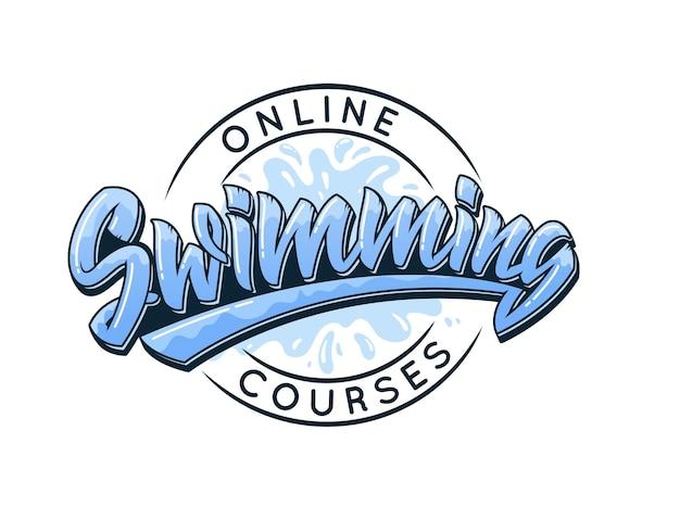 Плавательный дизайн логотипа типографии в стиле граффити