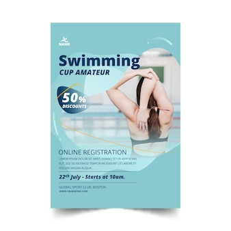 Swimming vertical flyer template design